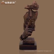 polystème de couleur de cuivre modernisé résine statue de visage humain