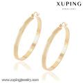 91904 Xuping mulheres jóias 18k banhado grande brinco de argola sem zircão