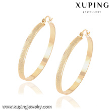 91904 Xuping women jewellery 18k plated big hoop earring without zircon