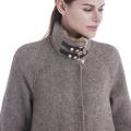 Beaver rabbit fur collar hand-sewn cashmere coat