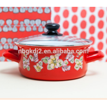 Red Enamel Flower Pan soup pot with high quality food safty