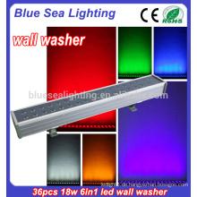 36x18w rgbwa uv 6in1led Flutlicht ip65 geführtes Wand-Unterlegscheibenlicht