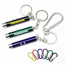 Porte-clés coloré fait sur commande de lampe-torche de logo de laser de fonction double avec des mousquetons