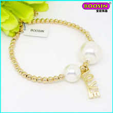New Fashion Design Gold Beads Charm Bracelet with Pearl