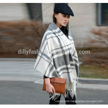 70*200cm checked 100% wool blanket scarf for women