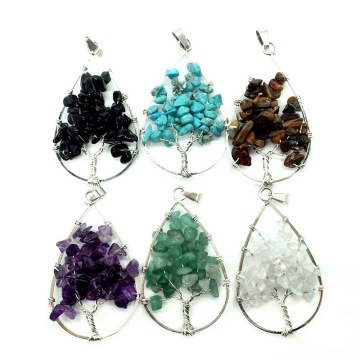 Natural Healing Crystals Quartz Tree Of Life Necklace Gemstone Pendant for unisex