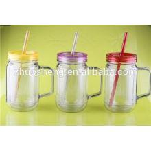стакан пластиковый кувшин Мейсон с ручкой и соломы