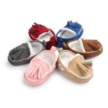 Mocassins de inverno infantil cor 6 unisex Soft Sole antiderrapante bebê sapatos