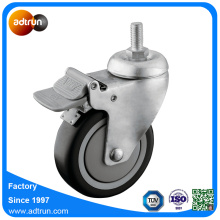 4inch PU Ball Bearing Wheel 100kg Capacity Thread Stem Caster