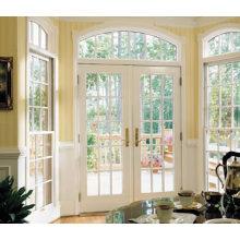 Woodwin último diseño doble vidrio templado de aluminio ventana francesa