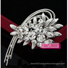 elegant crescent flower rhinestone jewelry brooch