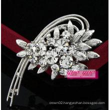 elegant crescent flower rhinestone jewelry brooch
