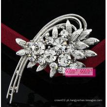 Broche de jóias de diamante de flor em forma de crescente elegante