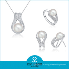 100% artesanal pavimentar conjunto de jóias de prata set design (j-0183)