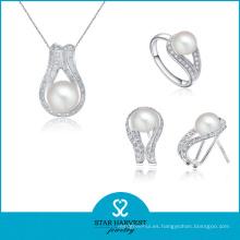 Diseño de conjunto de joyería de plata de configuración pave 100% hecho a mano (J-0183)