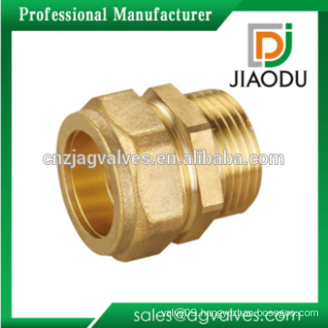 Male Thread Straight Nipple Hexagon Nut Brass Compression Fitting Connector