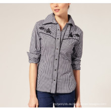 Ladies Fashion Check Baumwolle ausgestattet Langarm Frauen Shirt