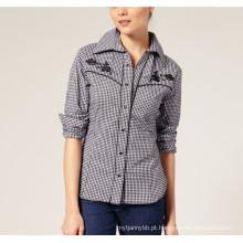 Ladie′s Fashion Check Algodão Equipado Manga Longa Mulheres Camisa