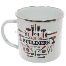 Tasse en acier d'émail d'impression de logo fait sur commande en gros, tasse faite sur commande d'émail en gros