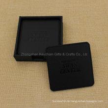 Kundenspezifischer quadratischer schwarzer PU-Leder-Untersetzer mit Firmenlogo