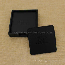 Porta-copos de couro preto quadrado personalizado PU com logotipo da empresa