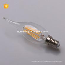 LED filamento C35T vela bombilla 2w 4w 6w e14 base