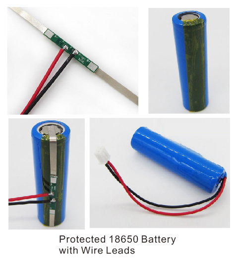 protected 18650 battery with wire leads