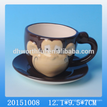Lastest design ceramic cup with saucer set for the monkey year