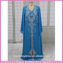 HE3004 Hot venda manga azul brilhante manga longa handmade muslim manga longa maxi vestido vestido de noite para vestidos de baile musulmanes