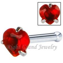 O coração deu forma ao nariz de aço cirúrgico do zircão do osso Nariz do parafuso prisioneiro dos anéis de nariz