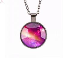 Collier en or rose de charme avec le nom de pendentif de quartz pour la fille