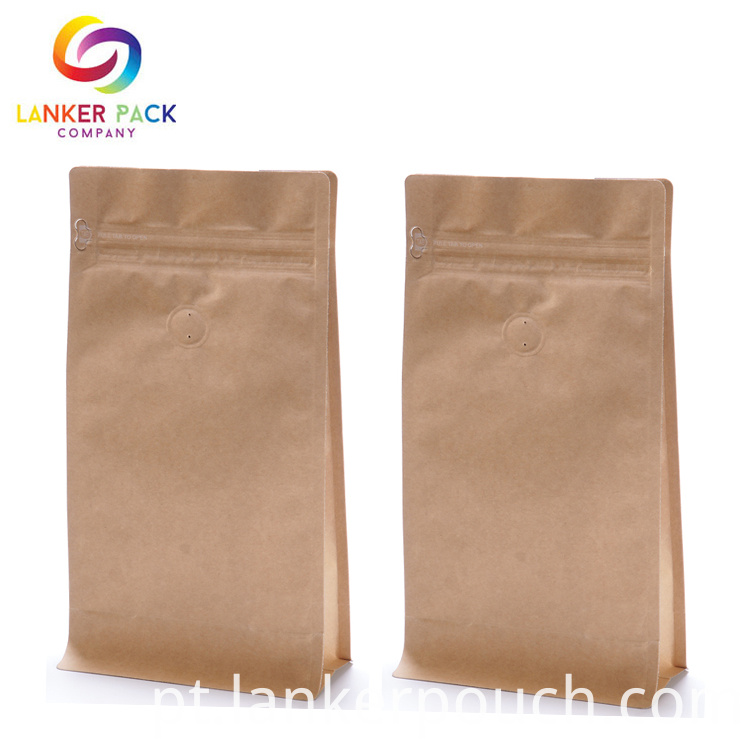 Brown Kraft Paper Coffee Bag With Degassing Valve