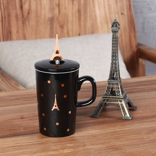 black eiffel tower coffee mug