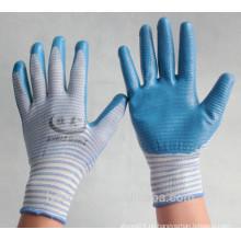13 Gauge Zebra Stil Nylon Handschuhe mit Nitril auf Palme, glatte Oberfläche beschichtet