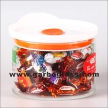 0.6L frasco de almacenamiento de vidrio con cubierta (GB-8401)