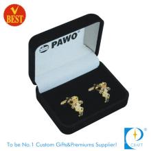 Cufflinks luxuosos do metal dourado para o presente relativo à promoção com embalar da caixa Flocking