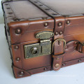 HIBO quality PU leather suitcase old looking wood frame old fashioned vintage suitcase / retro leather suitcase