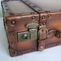HIBO quality PU leather suitcase old looking wood frame old fashioned vintage suitcase / retro leather suitcase