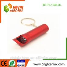 Vente en vrac en usine Mini taille 3 * Cellule à bouton LR44 Opérée Couleur Matal Matériau Mini 3 Porte-clés torche led avec ouvre-bouteille