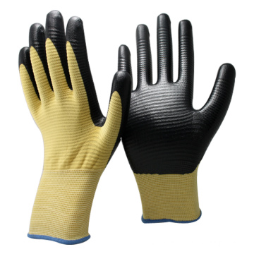 NMSAFETY hight quality U3 polyester coated black nitrile working gloves