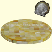 mother of pearl shell yellow round shell tea cup coaster