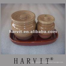 Pot en céramique de sel / papier / sucrier avec couvercle