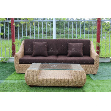 Hot Sales diseño espléndido jacinto de agua sofá conjunto para uso interior o sala de estar Natural mimbre muebles