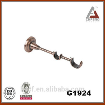 metal curtain support bracket, fixed strong electroplated double bracket, wall mount round curtain rod bracket