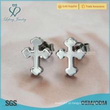 Moda prata de aço inoxidável uma cruz brinco atacado acessórios