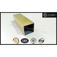 Perfil de tubo quadrado de alumínio com cor de ouro eletroforético