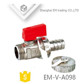 EM-V-A098 Válvula de esfera de latão niquelado 1/2 polegada com tampa de segurança