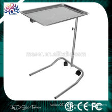 Two wheels mobile stainless steel tray,adjustable height tattoo shower service tray,cosmetic makeup stainless steel serving tray