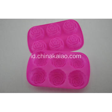 Baking Facility Silicone Red Rose Cake Tray
