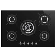 Gas Stove Smeg Denmark 5 Rings Black Glass